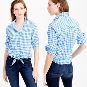 J. CREW Tie Front Boy Shirt in Gingham Blue White